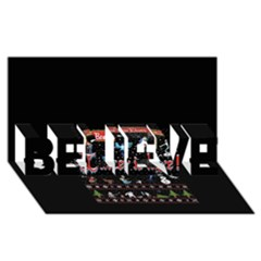 Winter Is Here Ugly Holiday Christmas Black Background Believe 3d Greeting Card (8x4)
