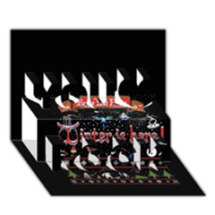 Winter Is Here Ugly Holiday Christmas Black Background You Rock 3D Greeting Card (7x5)