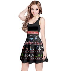 Winter Is Here Ugly Holiday Christmas Black Background Reversible Sleeveless Dress