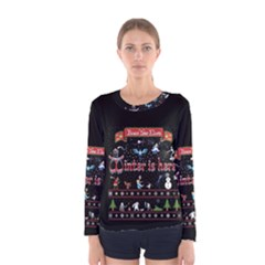 Winter Is Here Ugly Holiday Christmas Black Background Women s Long Sleeve Tee