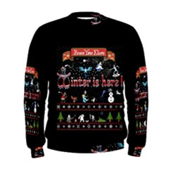 Winter Is Here Ugly Holiday Christmas Black Background Men s Sweatshirt