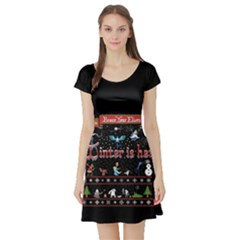 Winter Is Here Ugly Holiday Christmas Black Background Short Sleeve Skater Dress