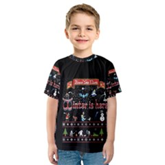 Winter Is Here Ugly Holiday Christmas Black Background Kids  Sport Mesh Tee