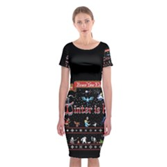 Winter Is Here Ugly Holiday Christmas Black Background Classic Short Sleeve Midi Dress