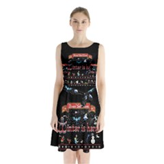 Winter Is Here Ugly Holiday Christmas Black Background Sleeveless Chiffon Waist Tie Dress