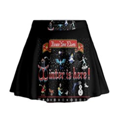 Winter Is Here Ugly Holiday Christmas Black Background Mini Flare Skirt