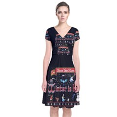 Winter Is Here Ugly Holiday Christmas Black Background Short Sleeve Front Wrap Dress