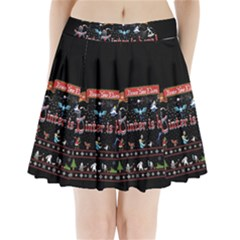 Winter Is Here Ugly Holiday Christmas Black Background Pleated Mini Skirt
