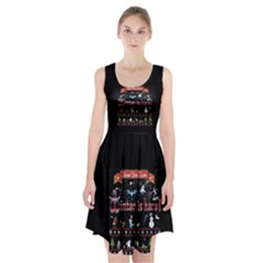 Winter Is Here Ugly Holiday Christmas Black Background Racerback Midi Dress