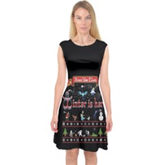 Winter Is Here Ugly Holiday Christmas Black Background Capsleeve Midi Dress