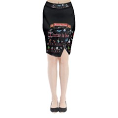 Winter Is Here Ugly Holiday Christmas Black Background Midi Wrap Pencil Skirt