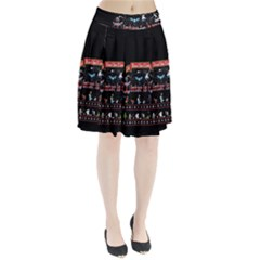 Winter Is Here Ugly Holiday Christmas Black Background Pleated Skirt