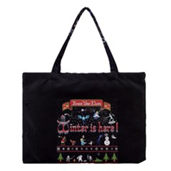 Winter Is Here Ugly Holiday Christmas Black Background Medium Tote Bag