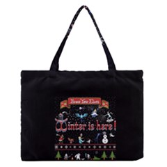 Winter Is Here Ugly Holiday Christmas Black Background Medium Zipper Tote Bag