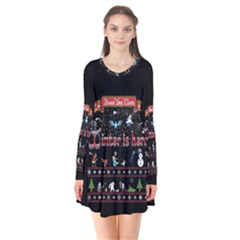 Winter Is Here Ugly Holiday Christmas Black Background Flare Dress