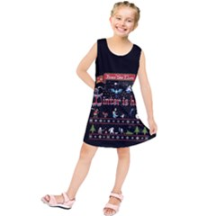 Winter Is Here Ugly Holiday Christmas Black Background Kids  Tunic Dress