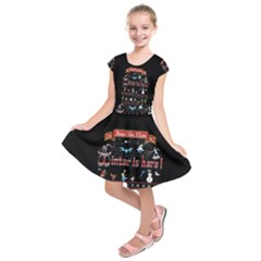 Winter Is Here Ugly Holiday Christmas Black Background Kids  Short Sleeve Dress