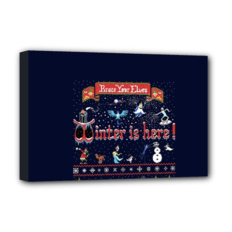 Winter Is Here Ugly Holiday Christmas Blue Background Deluxe Canvas 18  X 12