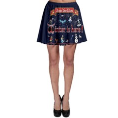 Winter Is Here Ugly Holiday Christmas Blue Background Skater Skirt
