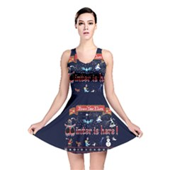 Winter Is Here Ugly Holiday Christmas Blue Background Reversible Skater Dress