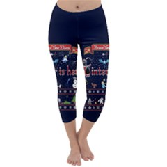 Winter Is Here Ugly Holiday Christmas Blue Background Capri Winter Leggings