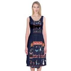 Winter Is Here Ugly Holiday Christmas Blue Background Midi Sleeveless Dress