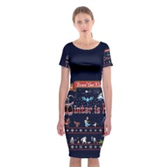 Winter Is Here Ugly Holiday Christmas Blue Background Classic Short Sleeve Midi Dress