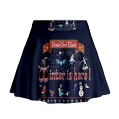 Winter Is Here Ugly Holiday Christmas Blue Background Mini Flare Skirt