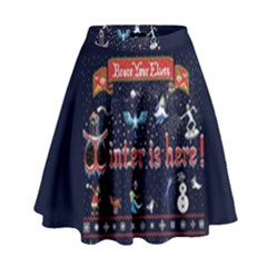 Winter Is Here Ugly Holiday Christmas Blue Background High Waist Skirt