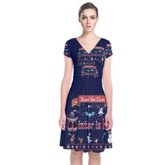 Winter Is Here Ugly Holiday Christmas Blue Background Short Sleeve Front Wrap Dress