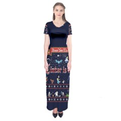 Winter Is Here Ugly Holiday Christmas Blue Background Short Sleeve Maxi Dress