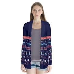 Winter Is Here Ugly Holiday Christmas Blue Background Drape Collar Cardigan