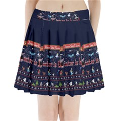 Winter Is Here Ugly Holiday Christmas Blue Background Pleated Mini Skirt