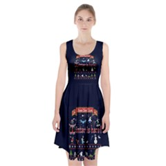 Winter Is Here Ugly Holiday Christmas Blue Background Racerback Midi Dress