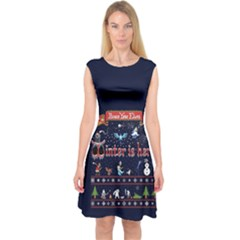 Winter Is Here Ugly Holiday Christmas Blue Background Capsleeve Midi Dress