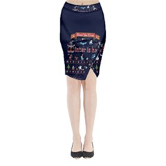 Winter Is Here Ugly Holiday Christmas Blue Background Midi Wrap Pencil Skirt