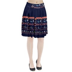 Winter Is Here Ugly Holiday Christmas Blue Background Pleated Skirt