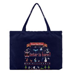 Winter Is Here Ugly Holiday Christmas Blue Background Medium Tote Bag