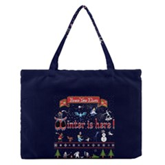 Winter Is Here Ugly Holiday Christmas Blue Background Medium Zipper Tote Bag