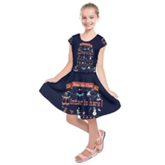 Winter Is Here Ugly Holiday Christmas Blue Background Kids  Short Sleeve Dress