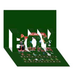 Winter Is Here Ugly Holiday Christmas Green Background Boy 3d Greeting Card (7x5)
