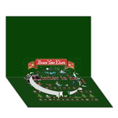 Winter Is Here Ugly Holiday Christmas Green Background Circle Bottom 3d Greeting Card (7x5)