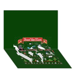 Winter Is Here Ugly Holiday Christmas Green Background Love Bottom 3d Greeting Card (7x5)