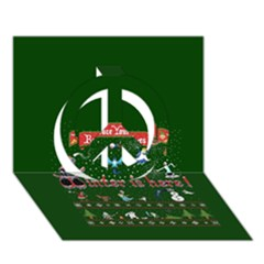 Winter Is Here Ugly Holiday Christmas Green Background Peace Sign 3D Greeting Card (7x5)