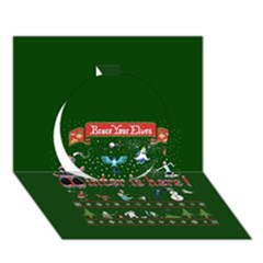 Winter Is Here Ugly Holiday Christmas Green Background Circle 3D Greeting Card (7x5)