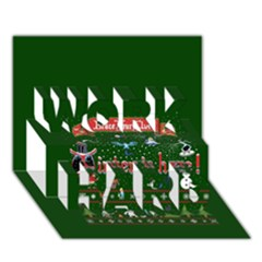 Winter Is Here Ugly Holiday Christmas Green Background Work Hard 3d Greeting Card (7x5)