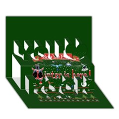 Winter Is Here Ugly Holiday Christmas Green Background You Rock 3D Greeting Card (7x5)