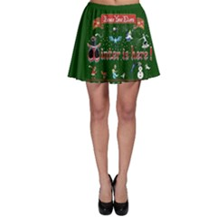 Winter Is Here Ugly Holiday Christmas Green Background Skater Skirt