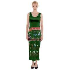 Winter Is Here Ugly Holiday Christmas Green Background Fitted Maxi Dress