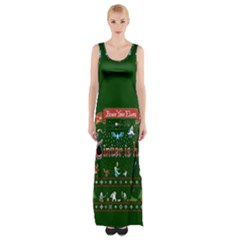 Winter Is Here Ugly Holiday Christmas Green Background Maxi Thigh Split Dress
